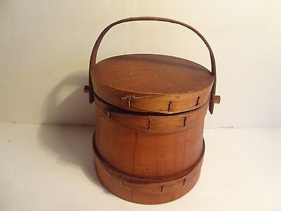 Antique Small Firkin Bucket Banded 3 Tapered Fingers Swing Handle - ex condition