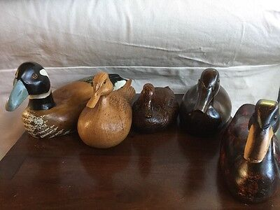 5 Vintage Beautiful Wooden Resin Duck Decoys Carved Ducks Collection Of 5