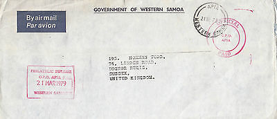 J 750 Samoa 1979 official paid Apia mark airmail to UK