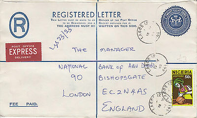 J 699 Nigeria PO registered and Express uprated  Lagos 1983 cover; 78k rate