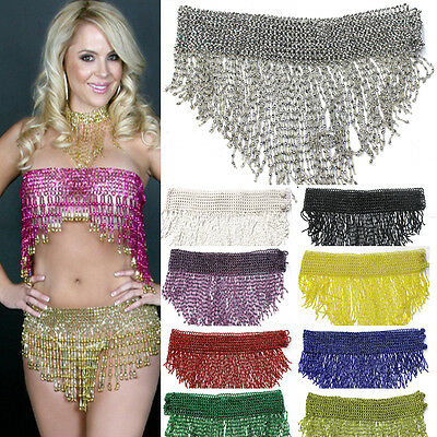 Bead Belly Dance Dancer Samba Costumes Hip Scarf Skirt or Top Elastic Belt Wrap