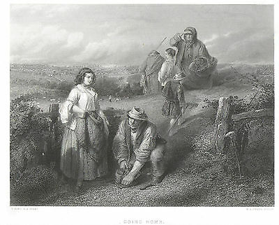 Engraving Going Home engraved by F A Heath after a drawing by T Faed c1868
