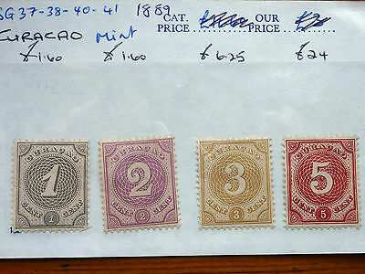Stamps Of Curacao = Sg 37-38-40-41  Issued 1889 - Mint -Very Light Hinge Marks