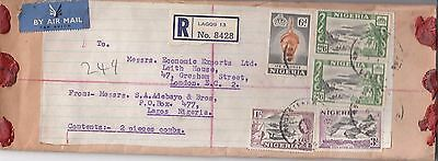 L 1111 Nigeria 1950s registered air Parcel rated cover;  6/9d rate