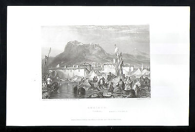 Antique Engraving Corinth (Conchrea) engraved by E Finden from J M W Turner-1834