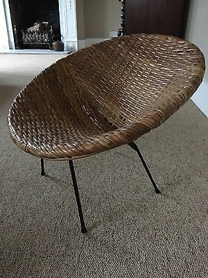 Vintage 1960s Natural Rattan Tub Satellite Child Chair