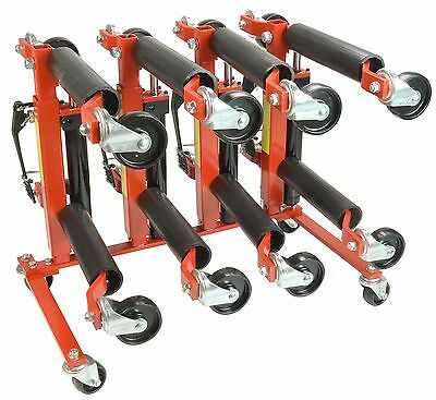 "(4) 1500lb 12"" Wide Hydraulic Car Wheel Dolly Jack and Wheel Dolly Storage Stand"