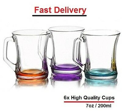 Set of 6 Coloured Glass Tea Coffee Cappuccino Cups Hot & cold Drink Mugs - Gift