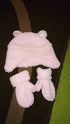 Baby Girl Pink Hat And Mittens Approx Age 12Months