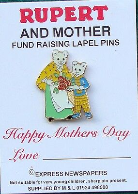Police RUPERT THE BEAR 'HAPPY MOTHERS DAY' tie tac pin badge LIMITED EDITION