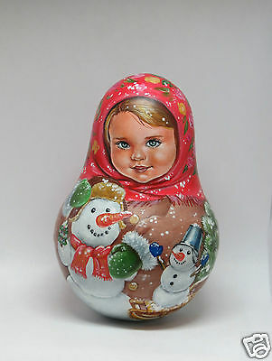 """Russian doll MATRYOSHKA Roly Poly """"Snowy friends"""" ORIGINAL HAND-PAINTED"""