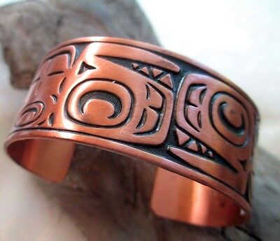 """Vintage Solid Copper Cuff Bracelet Bell Trading Post 1"""" Wide Orca Whales TAG"""