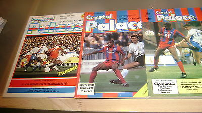 3 x crystal palace v plymouth 86/87 87/88 and 88/89 div 2 programmes