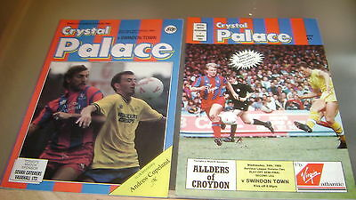 4 x crystal palace v swindon town 80s league and cup games programmes