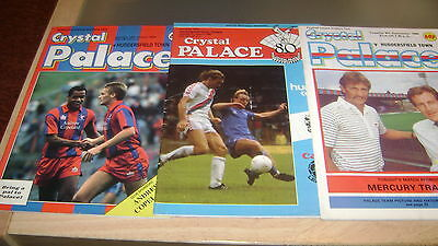 3 x crystal palace v huddersfield town 85/86 86/87 and 87/88 div 2 programmes