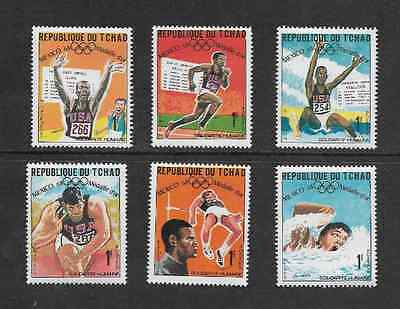 Chad Postal Issue 1969 - 6 Mint Usa Winners 1968 Olympic Games Stamps