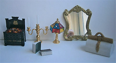 1/12th scale dolls house furniture, fireplace, candles, lamp, mirror, bag, books