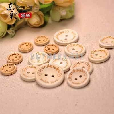 "20 wooden ROUND 2 hole buttons - 'HANDMADE WITH LOVE' - 15mm (5/8"")"