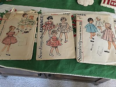 Vintage  Lot Of 3 Sewing Pattern Advance/Simplicity  Toddlers Dresses Coat Sz1&2