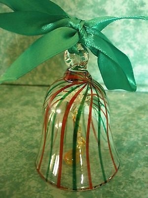 Lenox Crystal Bell Ornament~Clear  W/red & Green Stripes~Blown Glass