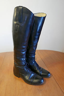 Black Leather Equestrian English Horse Riding Dressage Boots USA 7 1/2 L