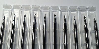 """NEW 1/16"""" 0.062"""" solid carbide end mill 2 flute BALL end Made In USA 10 pieces"""