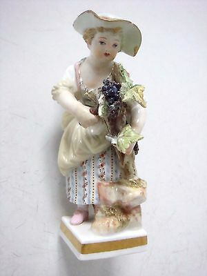 Meissen Porcelain Charming Figure Of A Adorable Girl Grape Picking - Lovely!