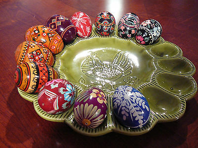 California Pottery 15 Egg Plate + 11 Hand Painted Wood Easter Eggs Ukranian
