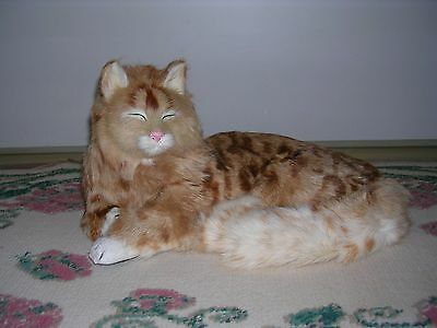 Realistic Lifelike Lying Cat with eyes closed Rabbit Fur Furry Animal C230T