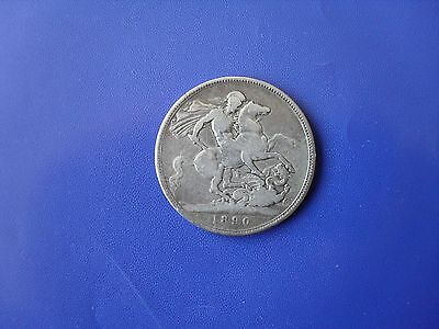 1890 Gb Queen Victoria Jubilee Head Silver Crown (5/=) Used Coin
