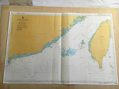 Large Admiralty Chart 1968 Office Map of Taiwan Strait Naval Map 1994