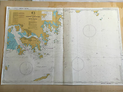 Large Admiralty Chart Office Map of Eastern Approaches to Hong Kong Naval Map