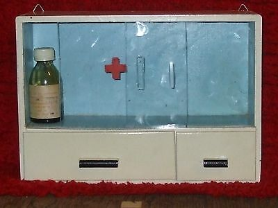 Vintage Old  Apothecary Medicine Wall Hanging Cabinet Wood RED CROSS