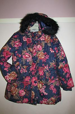 Girls Gorgeous Padded Winter Coat With Fur Trim Hood By Monsoon Age 9-10yrs