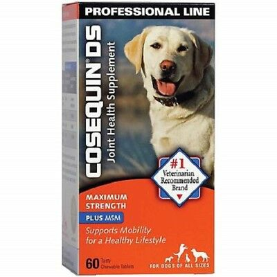 COSEQUIN DS Plus MSM For Dogs (60 Chewable Tablets) by Nutramax FRESH Ex 11/2020