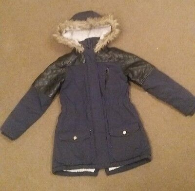 Girls Navy Blue Shower Resistant Padded Winter Coat Age 10-11yrs