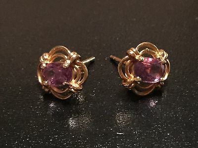 Vintage 9ct solid YELLOW GOLD and AMETHYST ORNATE STUD EARRINGS