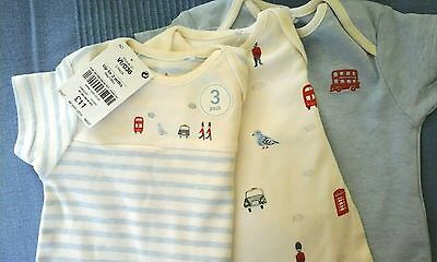 NEXT Baby Boys London Print Vests Bodysuits 3 pack 0-3 months BNWT