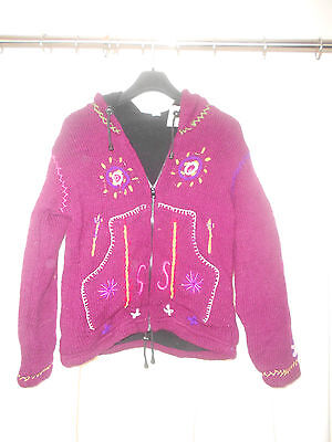 The Royal Collection girls hooded jacket bordo colour with fleece lining SALE