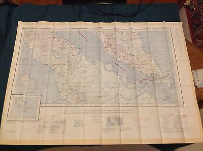 1957 Fabric (Silk/Rayon) Map Of Singapore & Penang Double Sided