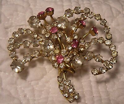 Old Vintage Antique Floral Flower Spray Brooch / Pin Large Pink/clear Rhinestone