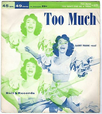 BARRY FRANK             Too Much               BELL RECORDS