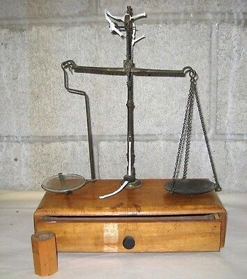 VTG EARLY 19th CENTURY APOTHECARY SMALL BALANCE SCALE in Box with Drawer UNIQUE!