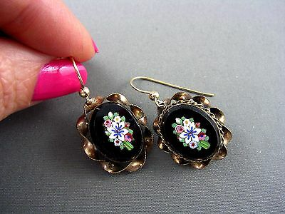 Antique Victorian Gold MICRO MOSAIC Pendant Earrings ~ LOVELY!