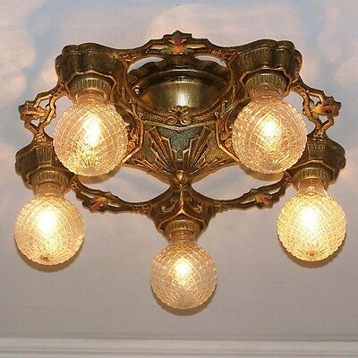 986 Vintage 20s 30s Ceiling Light lamp fixture art nouveau polychrome chandelier
