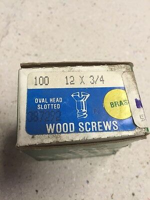 3/4 X # 12 OVAL HEAD  BRASS SLOTTED WOOD SCREWS-100 PER BOX New!! HILLMAN