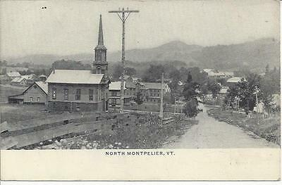 North Montpelier,vermont,postmarked 1914, Church,mill,homes,farms In Distance