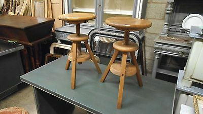 Pair of French adjustable wooden stools