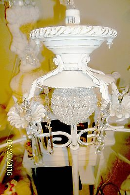 ANTIQUE CZECH CUT Crystal CEILING BEADED GLASS LIGHT BULB COVER  FIXTURE PRISMS