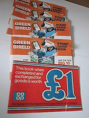 Green Shield Stamps Books and Stamps x 4 plus Co-op Saving Stamps Book